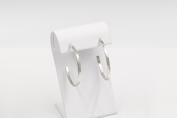 Long Pattern Sterling Silver Hoop Earrings - Medium