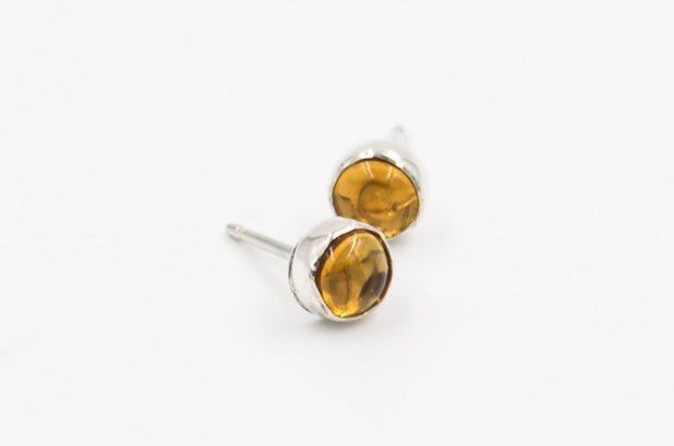 Citrine-post-earrings-sterling-silver