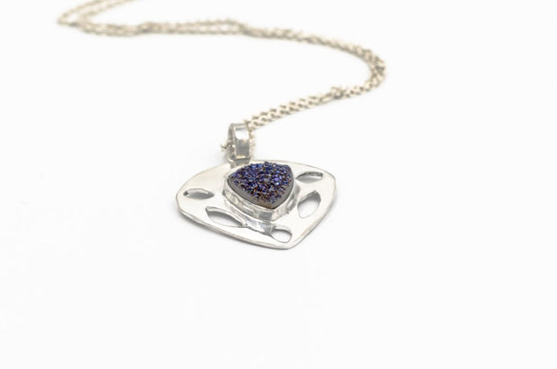 Sterling Silver Triangle Druzy Necklace