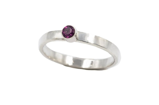 purple garnet ring in sterling silver