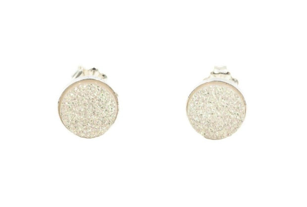 Round white druzy sterling silver post earrings