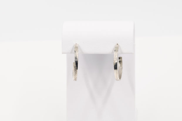 Long Pattern Sterling Silver Hoop Earrings - Small