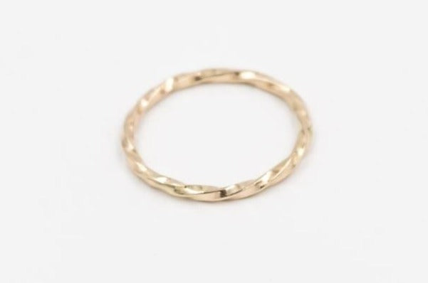 Solid 14k yellow gold thin rope ring