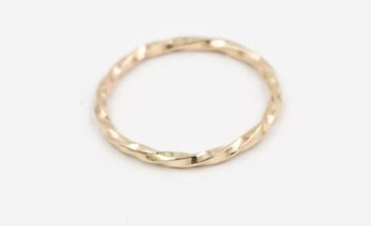 Solid 14k yellow gold rope ring