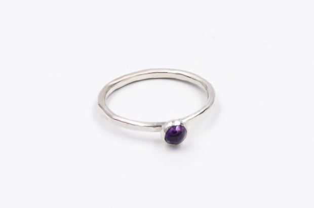 textured sterling silver stackable amethyst ring