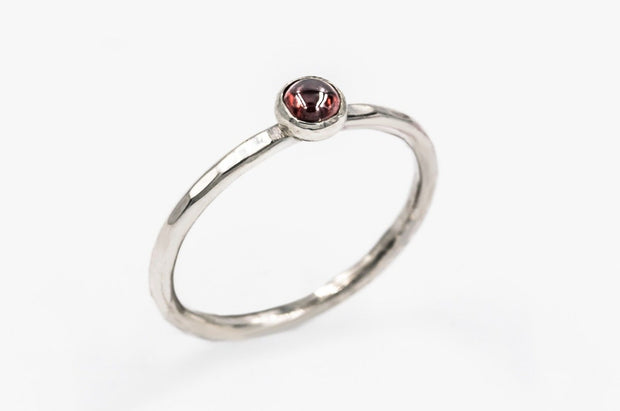 Textured_Sterling_silver_garnet_ring_stackable