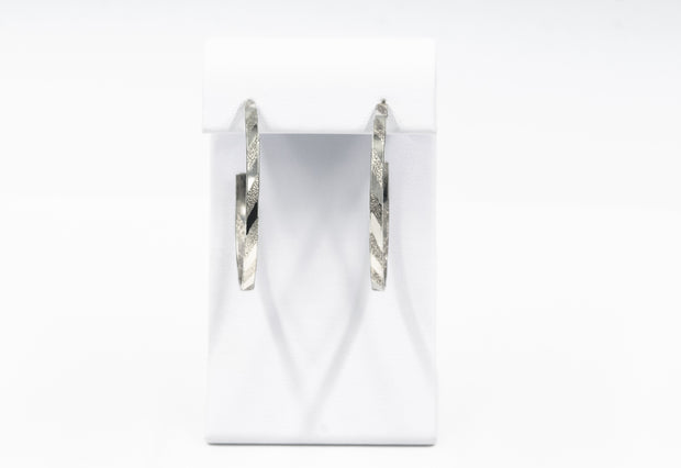 Short Pattern Sterling Silver Hoop Earrings - Large
