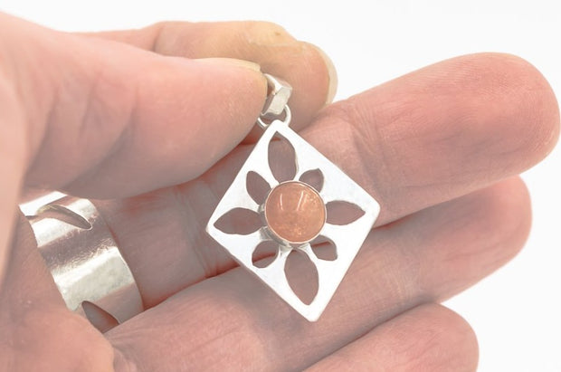 Sunstone in Sterling Silver Pendant Necklace
