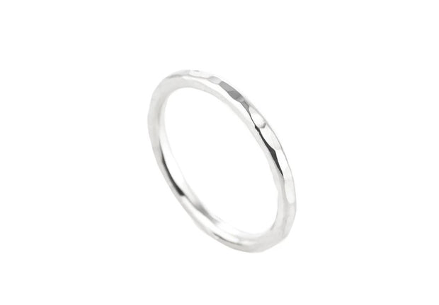 minimalist textured Sterling silver ring