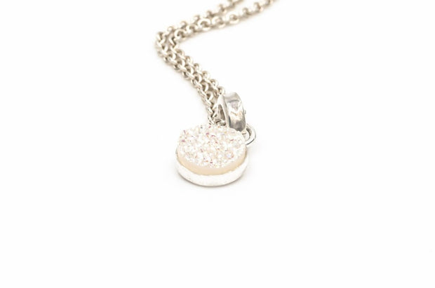 Round white druzy pendant necklace in sterling silver