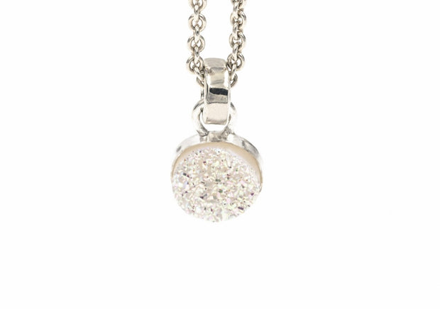 sterling silver white druzy pendant necklace