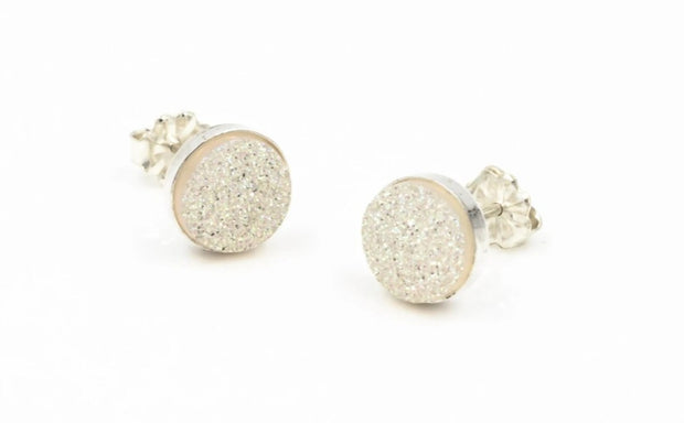 White druzy sterling silver post earrings