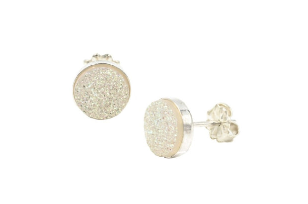 White druzy sterling silver stud earrings