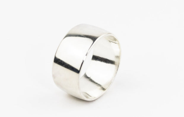 Wide sterling silver wedding ring