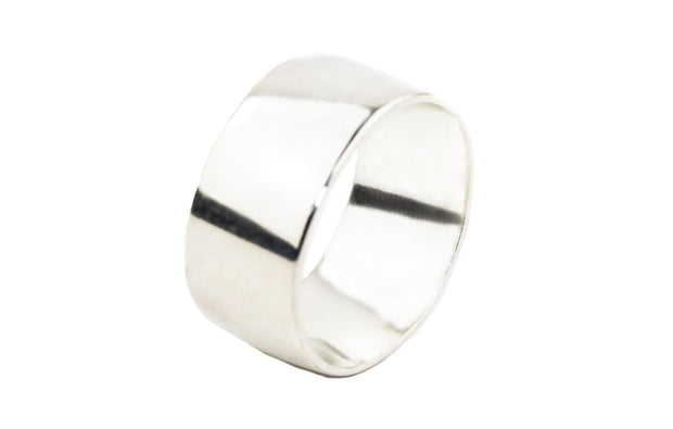 Wide men sterling silver wedding ring