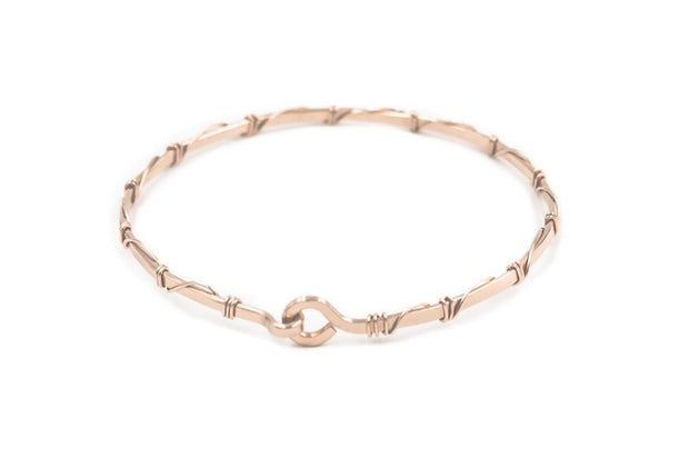 14k rose gold fill open bangle bracelet