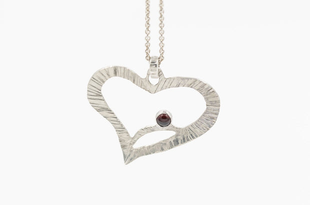 almandine garnet heart pendant necklace in sterling silver