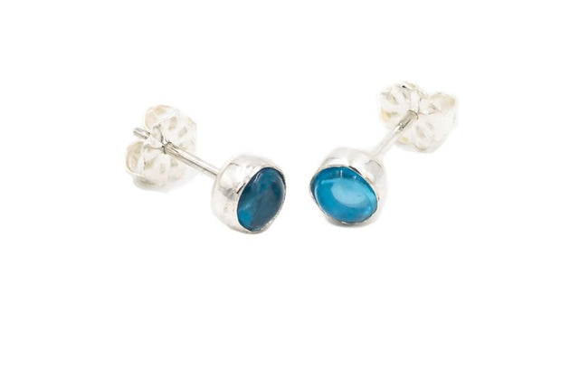 Swiss Blue Topaz Stud Earrings Sterling Silver