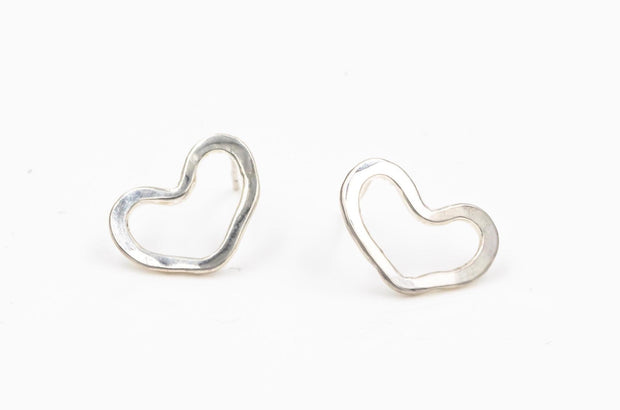 heart sterling silver post earrings