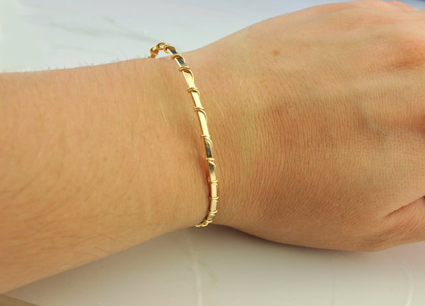 14k Rose Gold Fill Wire Wrapped Bangle Bracelet