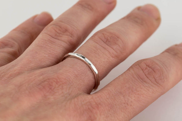 hand hammered sterling silver ring