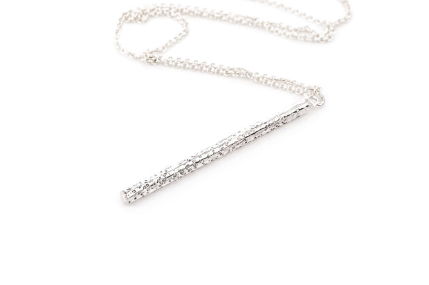textured sterling silver bar necklace