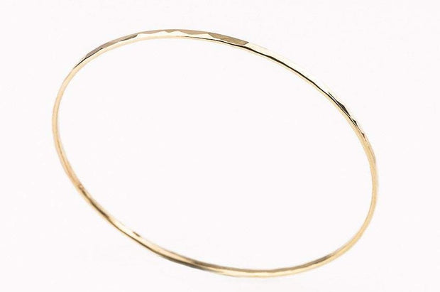Thin Textured 14K Gold Bangle Bracelet