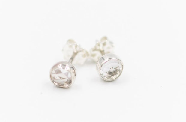 faceted white topaz stud earrings in sterling silver
