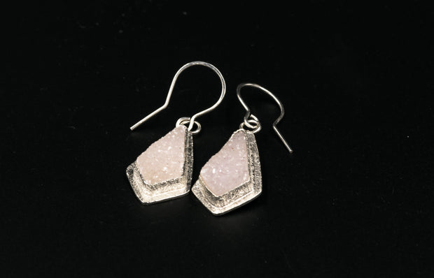 Pink Druzy Sterling Silver Drop Earrings
