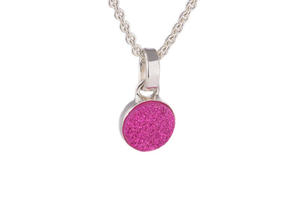 Round druzy pendant necklace sterling silver