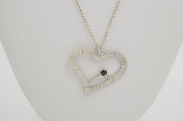 red minimalist almandine garnet heart pendant necklace in sterling silver
