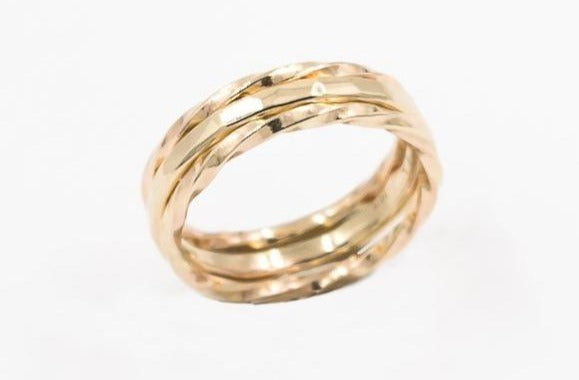 set of three 14k gold rings