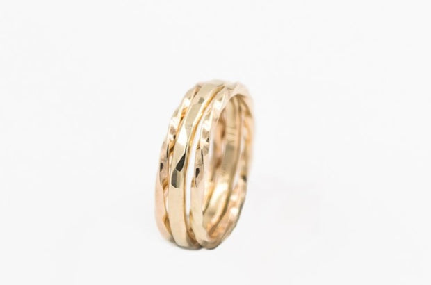 set of three 14k gold minimalist rings