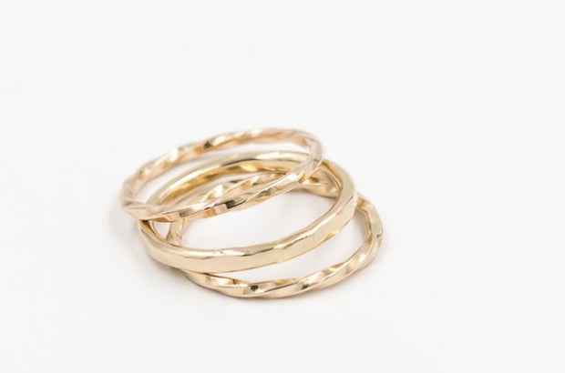 set of 3 14k gold rings