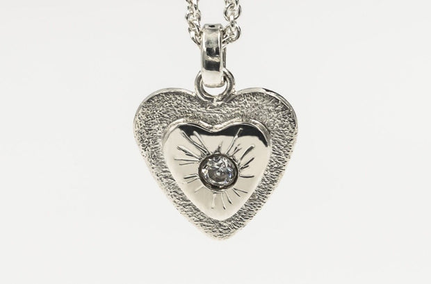 Heart Pendant Necklace in Sterling Silver with White Topaz