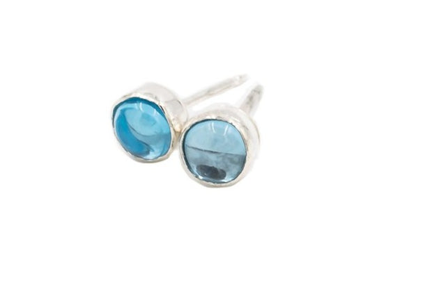 Round Swiss Blue Topaz Post Earrings in Sterling Silver