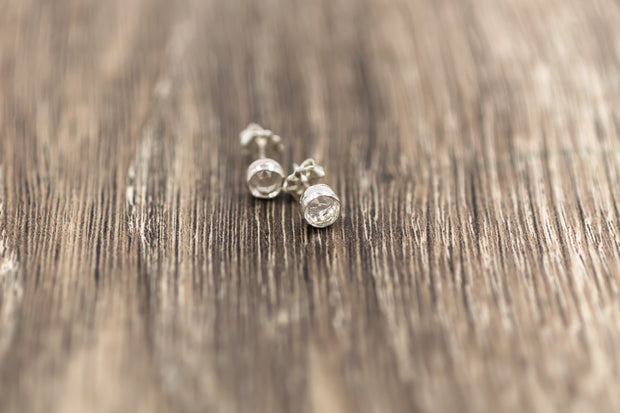 sterling silver post earrings with natural white topaz gemstones