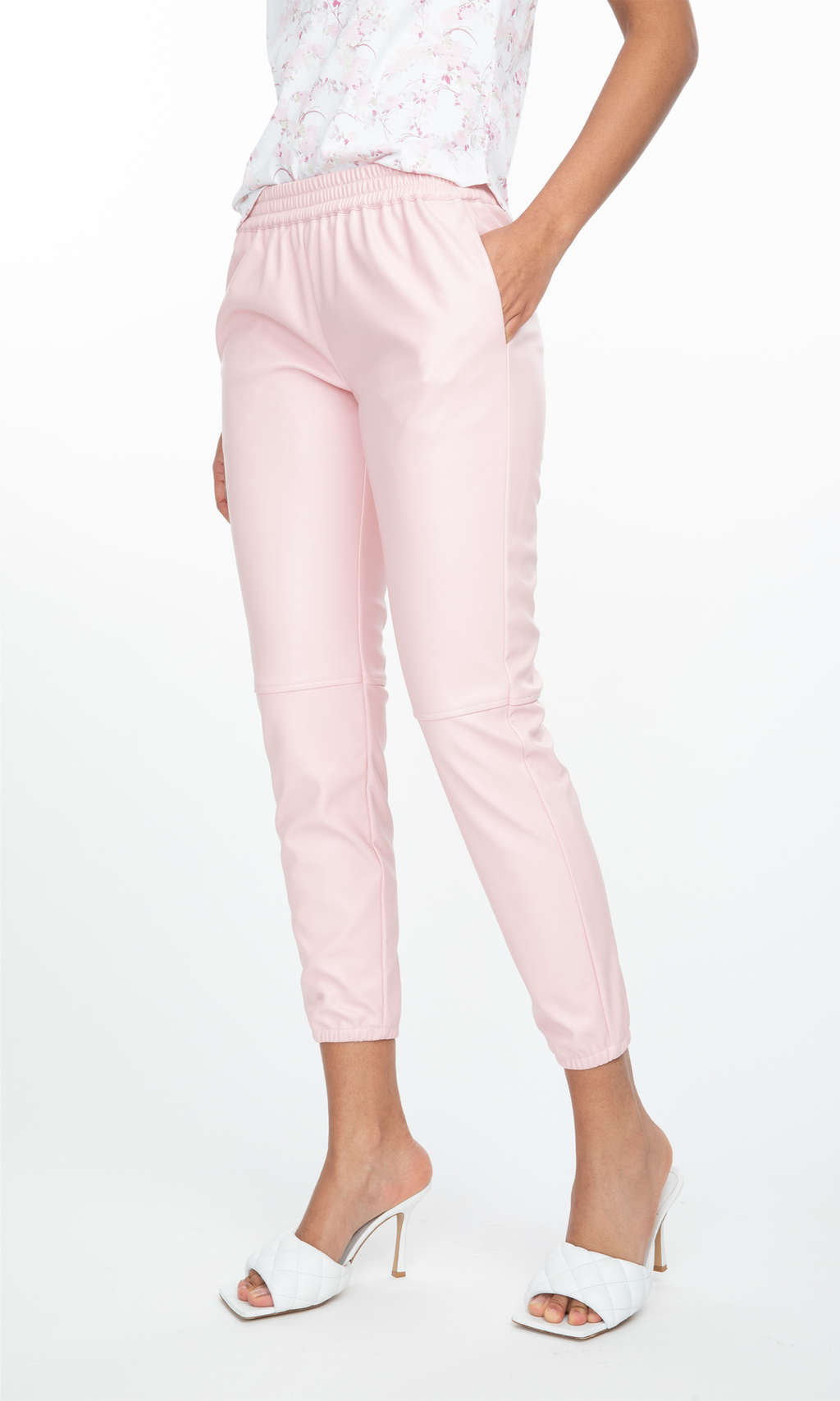 Generation Love Riley Vegan Leather Jogger-Light Pink
