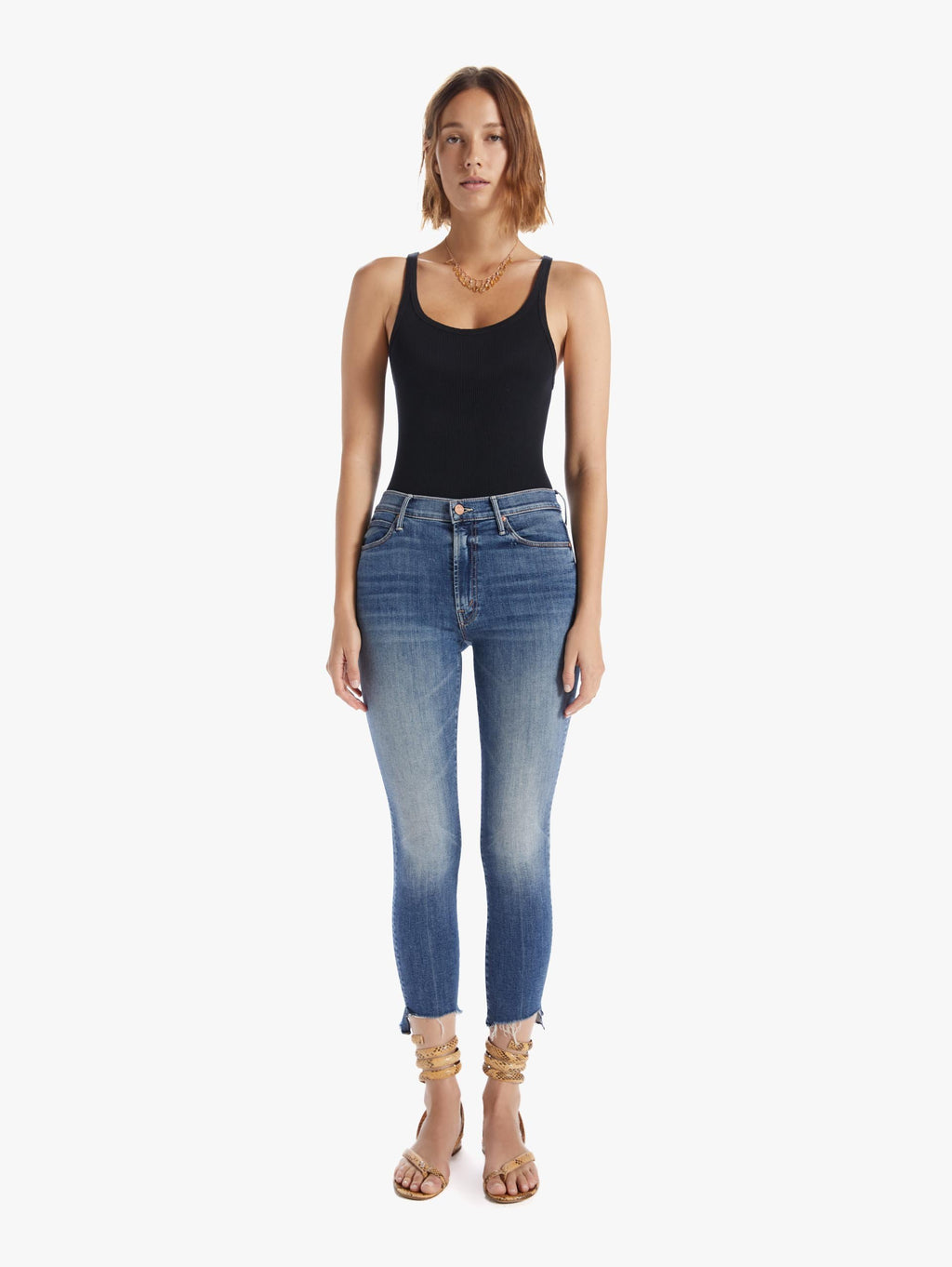 Mother Denim Stunner Zip Ankle Step Fray-Walking On Coals