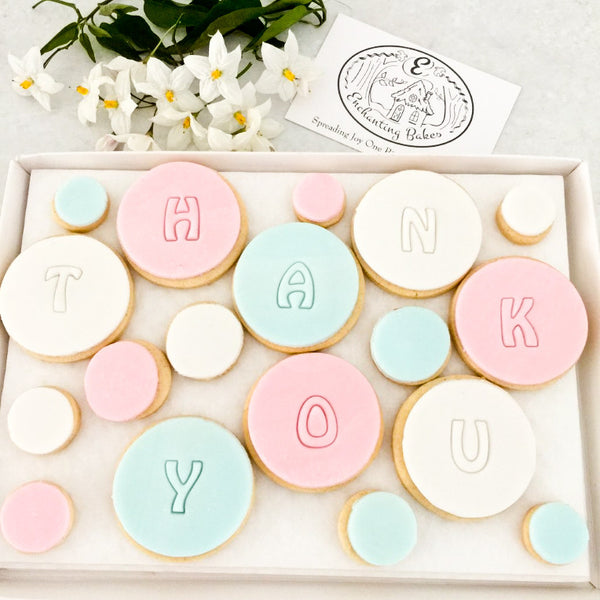 Bubble Pastel Thank You Biscuit Box