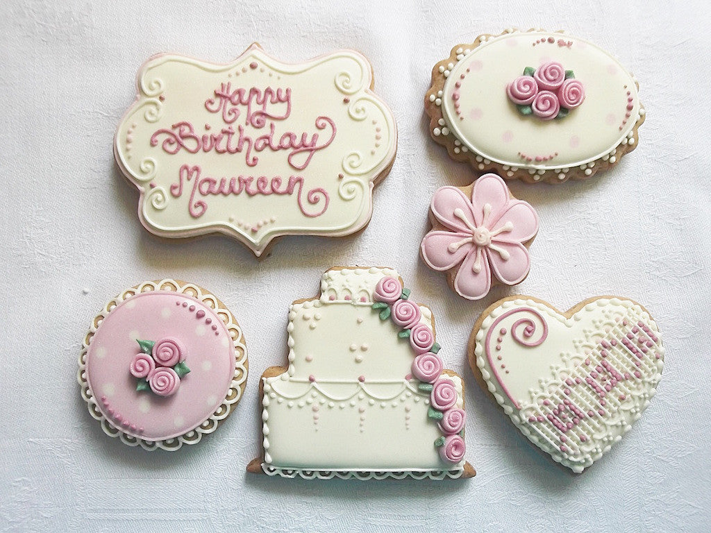 Vintage Rose Birthday Cookie Gift Box Funky Food Gifts