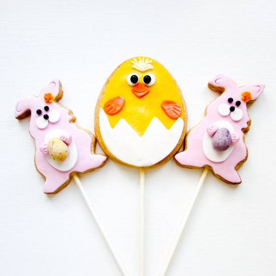 Easter Bunny and Chick Cookie Pops Delivered to UK