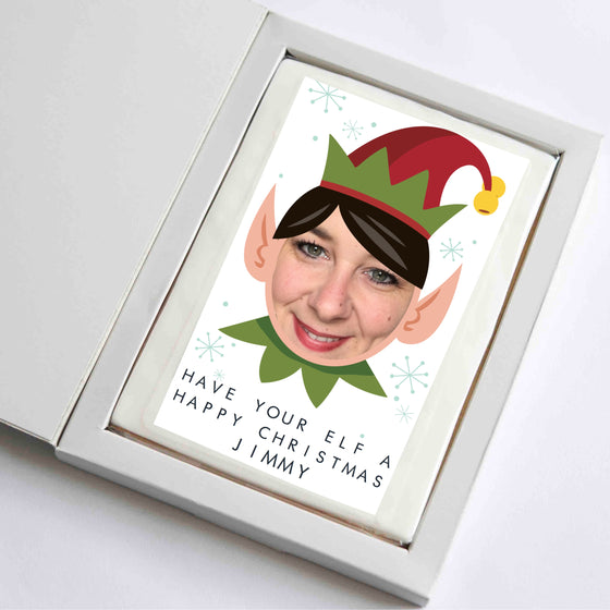 Funny Christmas Photo Cookie Card Elf
