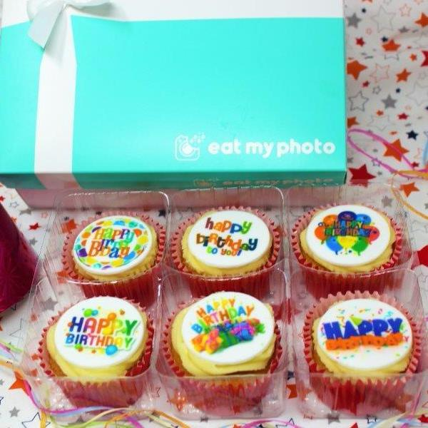 Happy Birthday Cupcakes With Mixed Designer Toppers