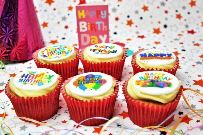 Happy Birthday Cupcakes with Mixed Happy Birthday Designer Toppers