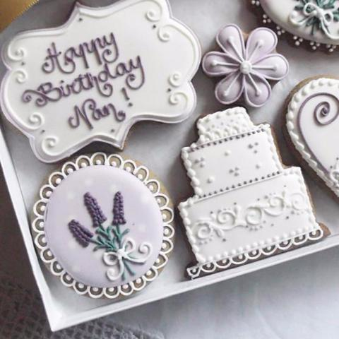 Personalised Happy Birthday Cookies Lavender