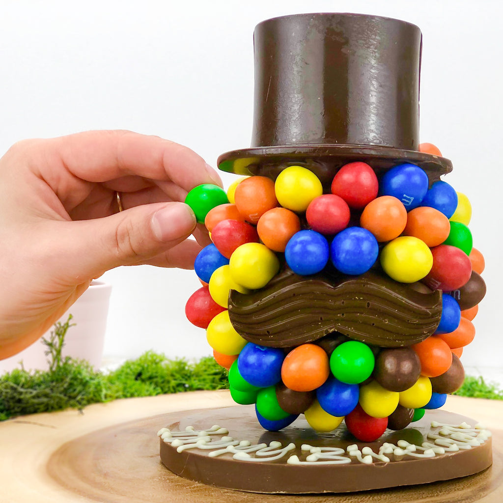 Peanut M&Ms Hat and Moustache Chocolate Head by Sweet Trees
