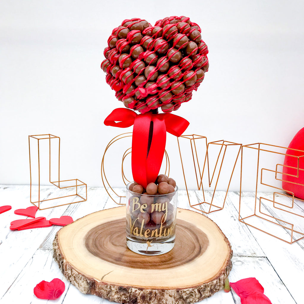 Personalised Malteser Chocolate Drizzle Valentine Tree