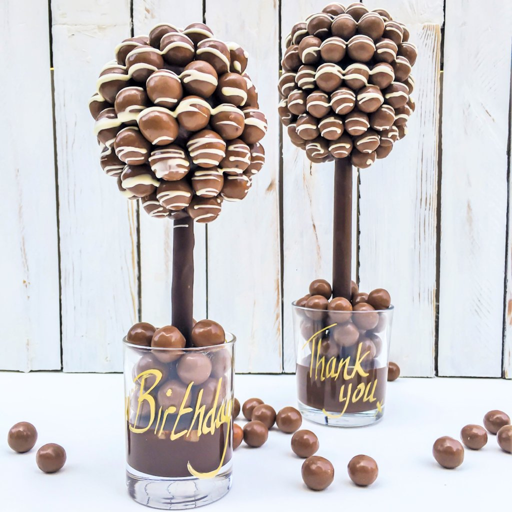 Personalised Malteser & White Chocolate Drizzle Sweet Tree by Browns