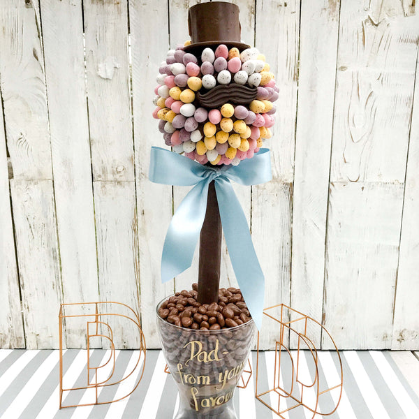 Fathers Day Cadbury Mini Egg Hat And Moustache Tree by Sweet Trees
